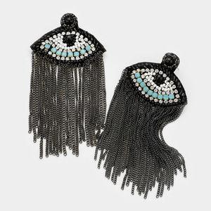 Crystal Pave Beaded Evil Eye Chain Tassel Earrings